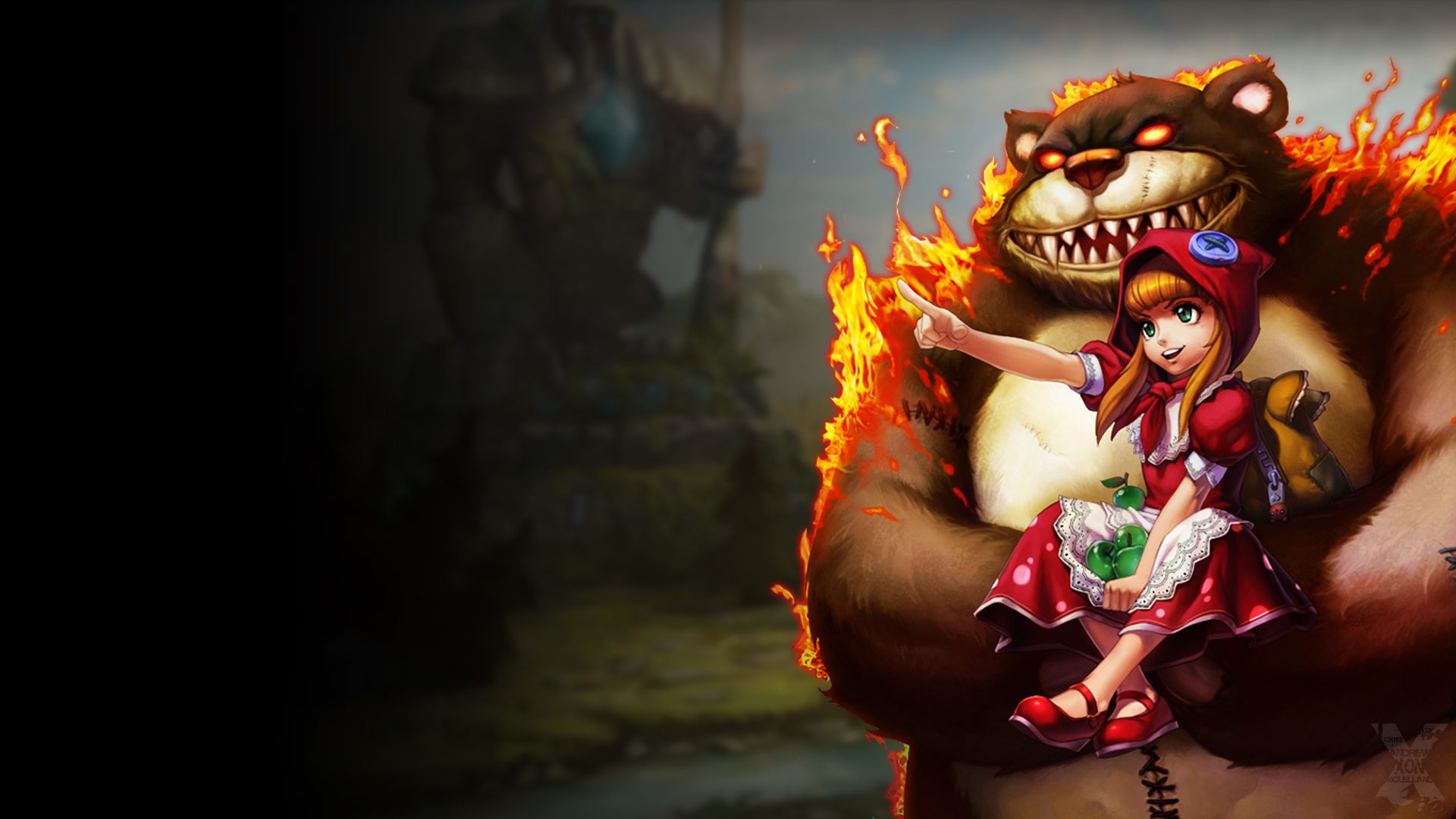 ... and Tibbers, based on official splash art for Red Riding Annie skin Orianna Splash Art