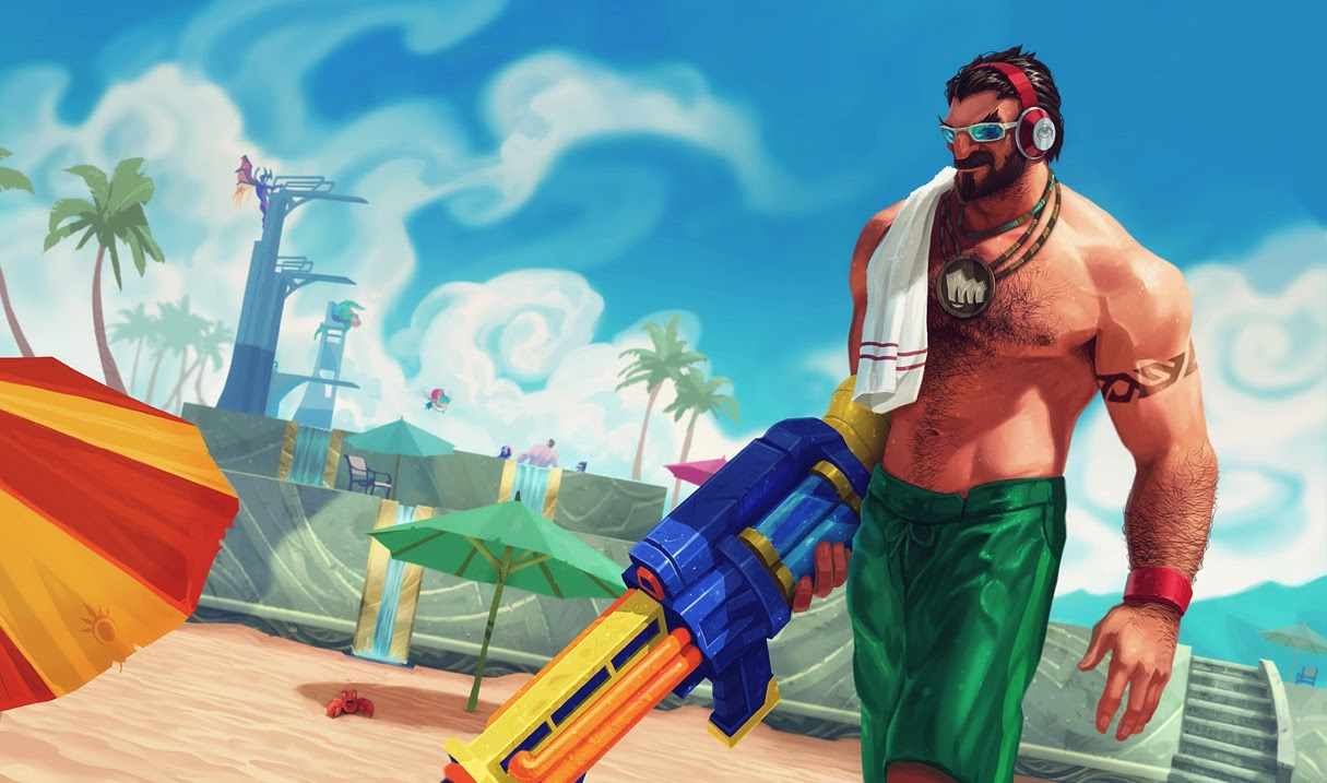 Splash artwork for Pool Party Graves skin, released in summer 2013. Orianna Splash Art