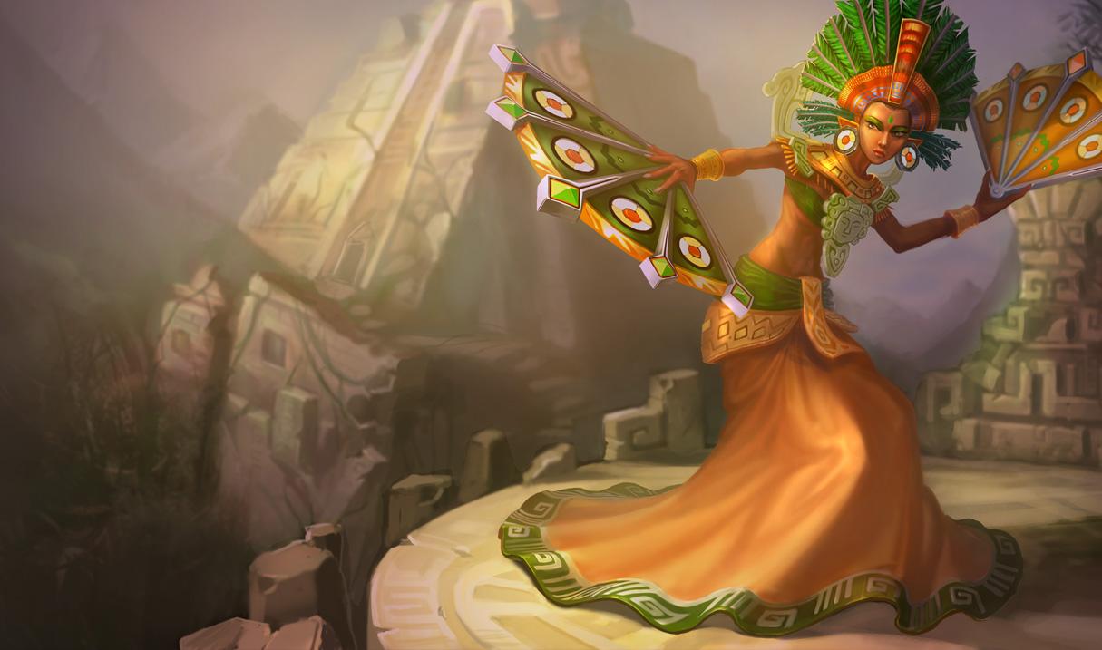 Riot's official splash art for Sun Goddess Karma skin. Orianna Splash Art